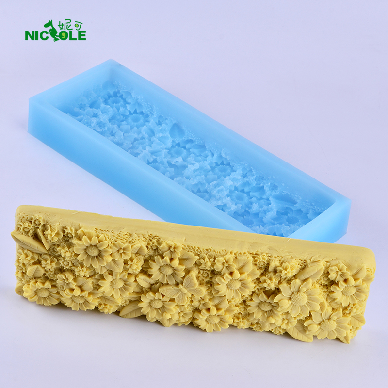 Flat Rectangle Loaf Silicone Soap Mold with Decorative Patterns on the Bottom for Craft Handmade DIY Soap Making Tool in Soap Molds from Home Garden
