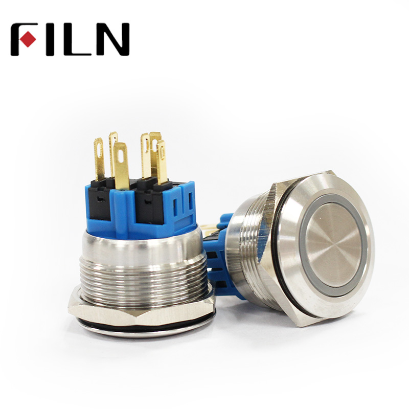 25mm stainless steel led 6v 12v 24v 48v 220v blue green white yellow momentary Latching 1NO 1NC SPDT metal push button switch