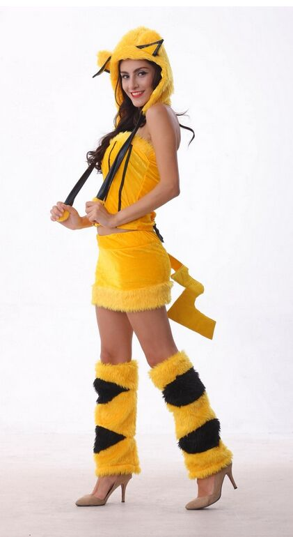 Yellow Costume Female Pikachu Cosplay Clothing Four Pieces ...