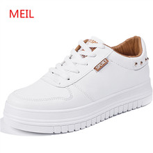 2018 Spring New Sneakers White ladies Shoes woman Students Thick-soled Casual Shoes women Flats Lace-up Leather Canvas Shoes