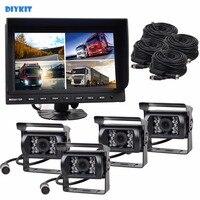 Diykit 9 inch سبليت رباعية رصد سيارة + 4 × ccd ir للرؤية الليلية كاميرا الرؤية الخلفية للماء ل سيارة شاحنة حافلة عكس كاميرا