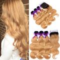 3 Bundles With Lace Closure Dark Rooted Ombre Honey Blonde T1b 27 Peruvian Virgin Hair Body Wave Lace Closure With Bundles