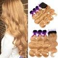 3 paquetes con lace closure arraigada oscuro honey blonde ombre t1b 27 peruana virgin hair body wave lace closure con paquetes