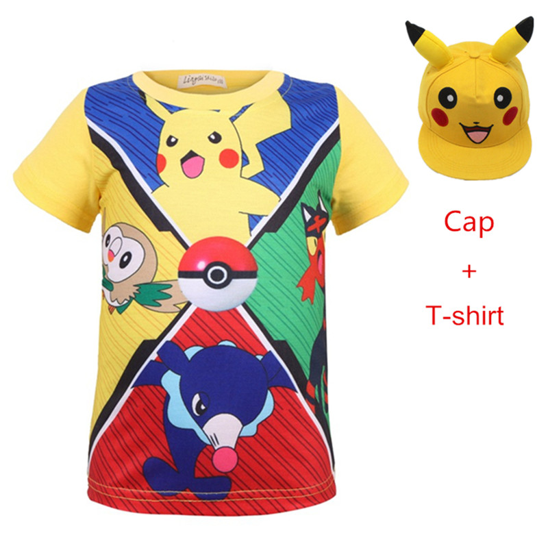 2pcs Boy cosplay costume pokemon go t Shirt for Children Cotton Summer shirt 3D Print Pikachu t-shirt for Girl Kids Clothes