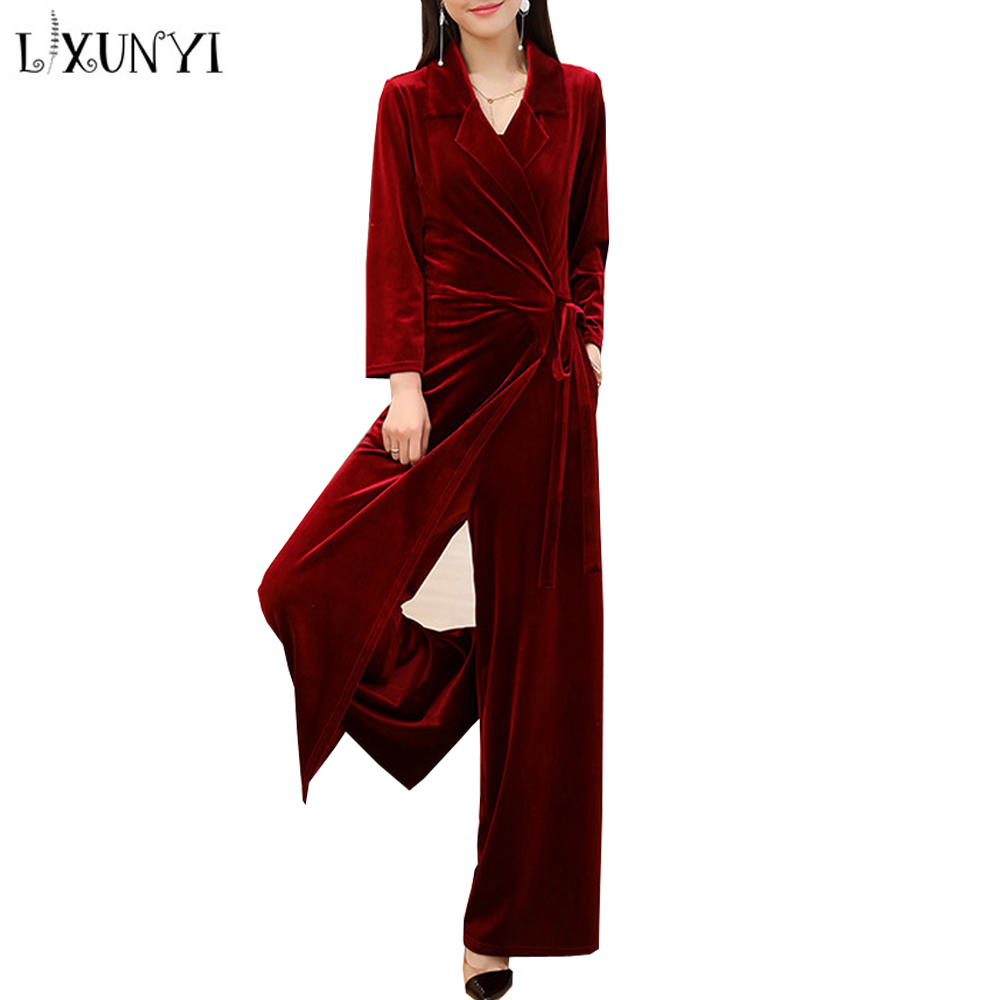 LXUNYI Velvet Jumpsuit Women Elegant Long Sleeve Rompers Womens Jumpsuit Long Pants Wide Leg Solid Long Sleeve Overalls Female