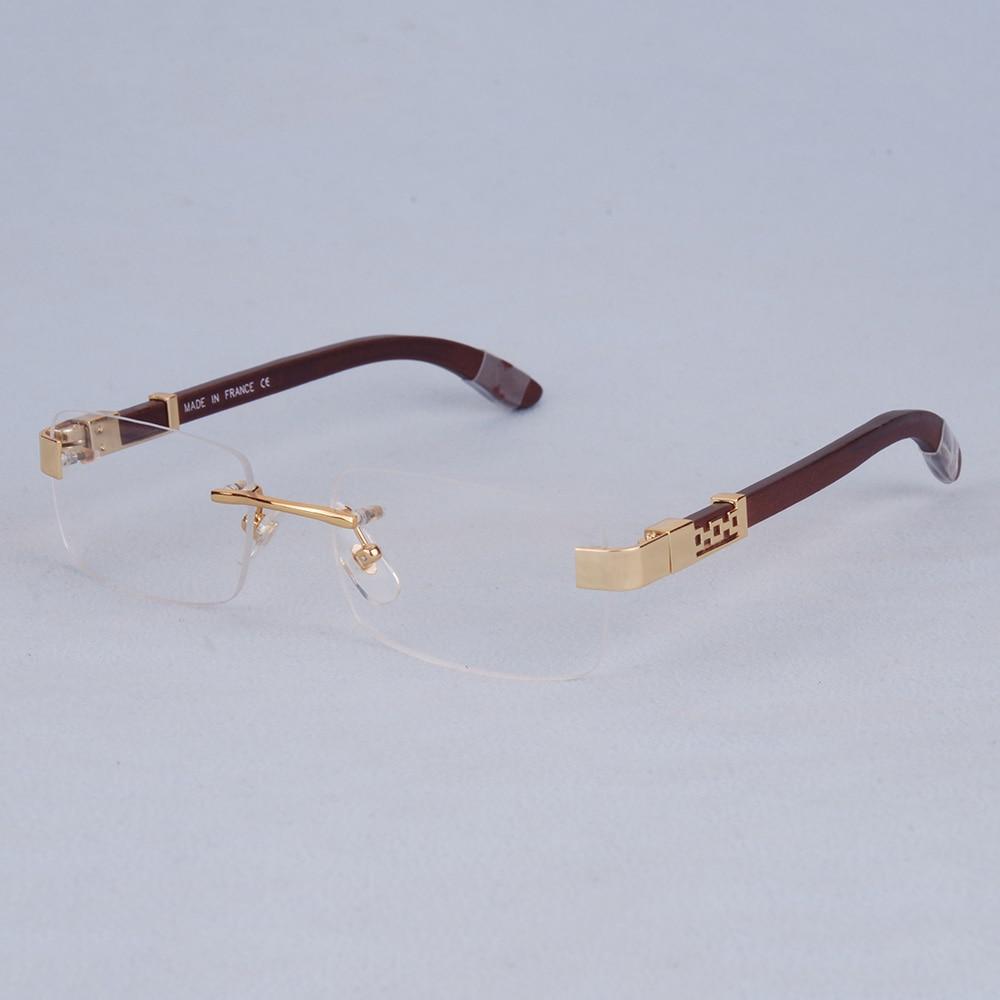 Vazrobe lunettes en bois cadre hommes lunettes en or homme sans monture demi Prescription complète lunettes de luxe marque lunettes bois