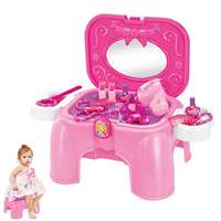 Baby Girls Pretend Play Makeup Dressing Table Chair Play House Toy Dream Princess Dressing Table Stool Chairs Emulational Toy