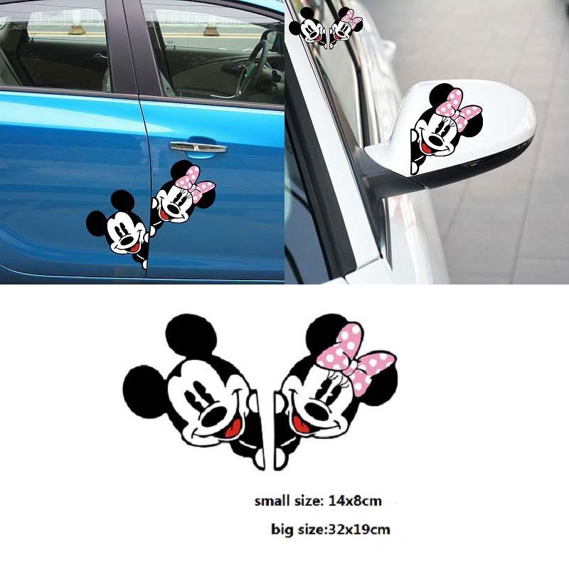 Забавный стикер для автомобиля, милый Микки, Минни Маус, подглядевший чехол, царапины, мультяшное зеркало заднего вида, наклейка для мотоцикла, Vw, Bmw, Ford