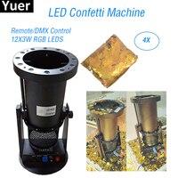4Pcs/Lot 12X3W RGB Colors LED Wedding Confetti Cannon Machine Paper Confetti Machine Disco DJ Equipment Christmas Stage Machine