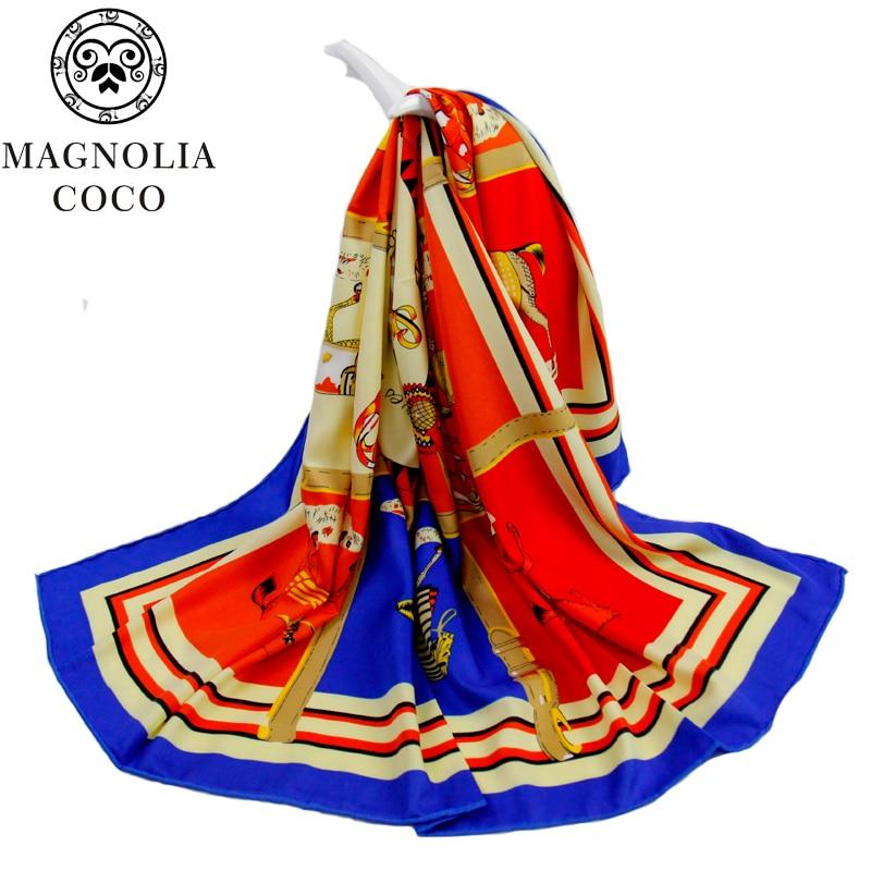 MAGNOLIA Fashion Silk Twill Scarf Կանայք բարձրորակ - Հագուստի պարագաներ - Լուսանկար 2