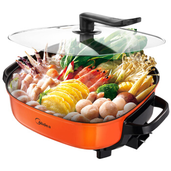 30LK1801 Home Multifunction Electric Hot Pot Double Ring Heating Multi Cooker Integral Die-casting Non-stick Pot 6L 1500W Orange lk1795 new multi cooker 1500w 6l double layer electric hot pot infinite firepower adjustment non stick pot with stand lid
