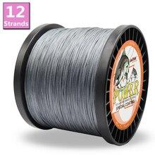 Potenza 12 fili linea di pesca intrecciata 1500m 8 colori Super Strong Japan multifilamento PE treccia linea 40LB 60LB 80LB 120LB 180LB