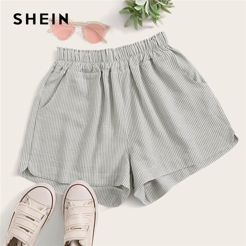 SHEIN Elastic Waist Double Pockets Striped Casual Shorts Women Bottoms 2019 Summer High Waist Wide Leg Basic Frill Shorts