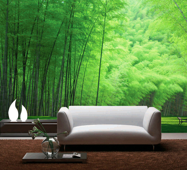 Beibehang fresh bamboo grove 3d wallpaper roll wall mural for Bamboo mural wallpaper