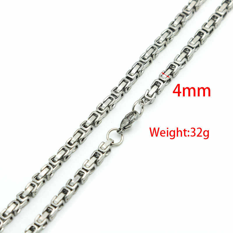 New Design 2.6mm 4mm 5mm 6mm 8mm  Men Chain Silver Tone 316 Stainless Steel 22inch Byzantine Box Link Necklace