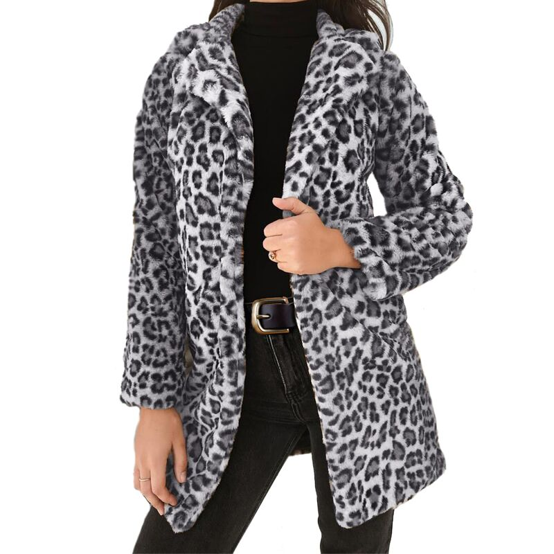 LOSSKY Faux Fur Leopard Print Long Coat Women 2018 Autumn Winter Warm Soft Fur Jacket Female Plush Overcoat Casual Outerwear 1
