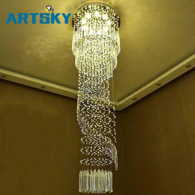 Modern large crystal chandelier lighting for hotel hallway stairwell modern large crystal chandelier lighting for hotel hallway stairwell long stair light led hanging ceiling lmap aloadofball Image collections