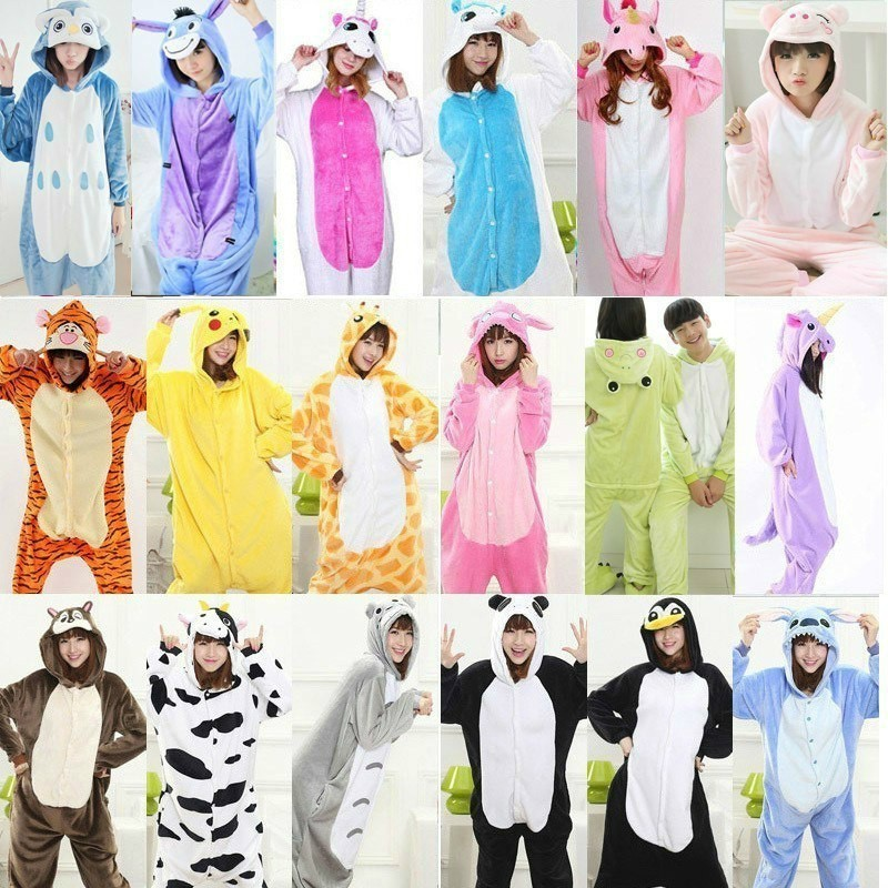 Adult Women Animal   Pajamas   Flannel   Pajama     Sets   Pijama Cartoon Cosplay Warm Sleepwear Homewear Unicorn Stitch Panda Zebra Pikachu