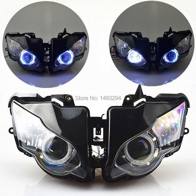 Özel montajlı projektör far mavi ve beyaz melek göz HID Honda için uygun CBR1000RR CBR1000 RR 2008 2011 08 09 10 11