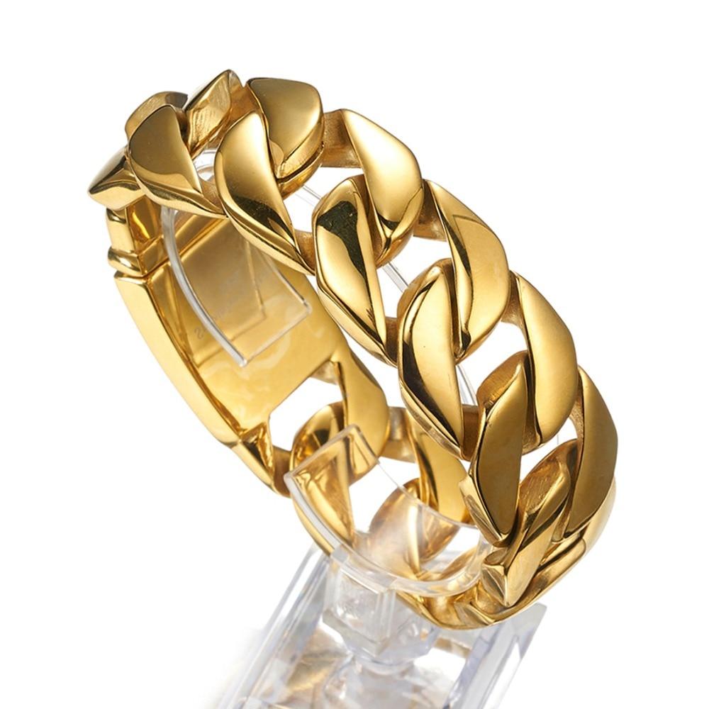 8.46 pouces 26mm charmant Bracelet en or cubain de haute qualité Bracelet en acier inoxydable bijoux hommes Bracelet Bracelet Punk Rock bijoux