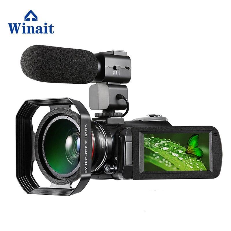 Caméra vidéo numérique Winait HD 4 K wifi avec écran tactile 3.0 '', caméscope numérique 30x à vision nocturne à usage domestique