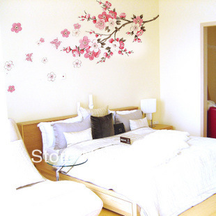 QZ017 Free Shipping 1Pcs Falling Flower Plum Blossom Branch Removable PVC Wall Stickers <font><b>Elegant</b></font> Fancy <font><b>Home</b></font> <font><b>Decoration</b></font> Gift