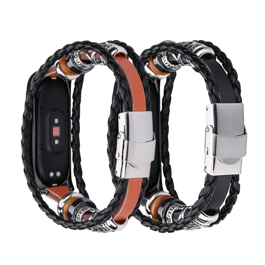 Leather Beading Bracelet Strap Weave Braided Replacement For Xiaomi Mi Band 3
