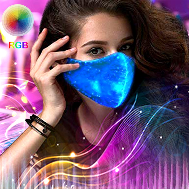 Light Up LED Rave Mask LED Dust Mask Glow 7 Color Rechargeable Luminous Mask For Party Summer EDM EDC Easter St. Patrick's Day