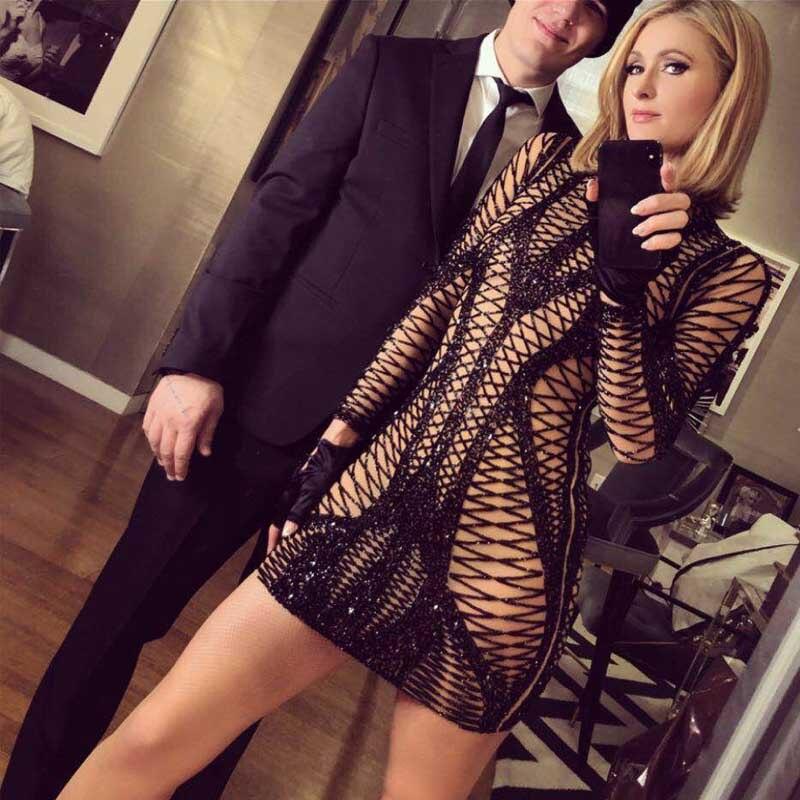 En gros 2019 Nouvelle robe noire à manches longues Paillettes élégance De Mode Celebrity loisirs femme celebrity tenue de fête (H2205)