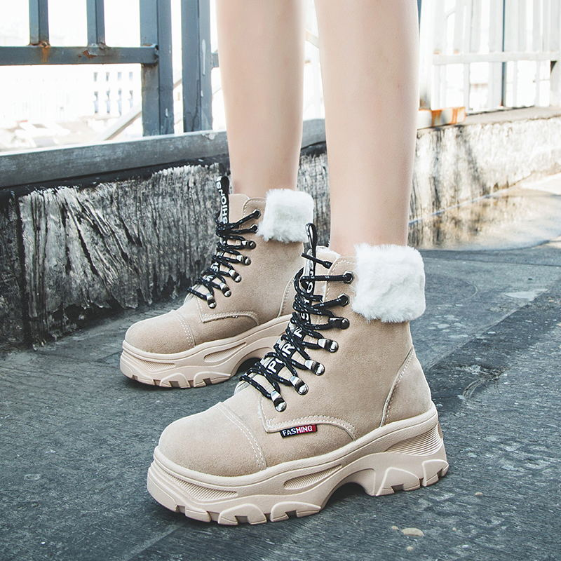 MIUBU Top Quality Winter Women Boots Fashion Comfortable Lace-Up Ankle Boots Plush Rubber Platform Boots Black Botas Mujer