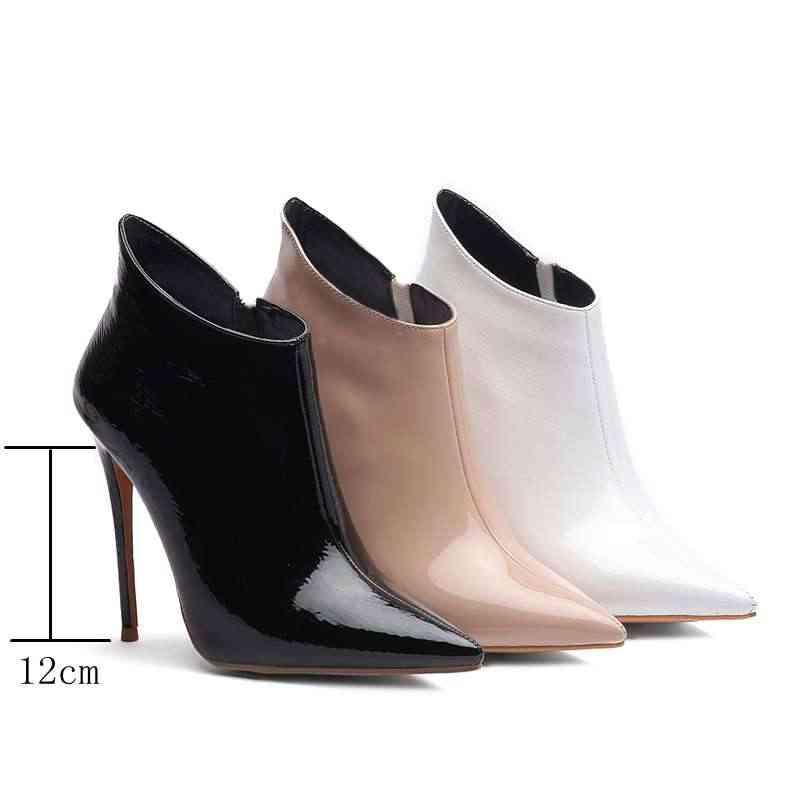 SIMLOVEYO Seksi düz patik sivri burun yarım çizmeler kadınlar için süper yüksek topuklu fermuar patent deri şişeler büyük boy 33- 45 bota
