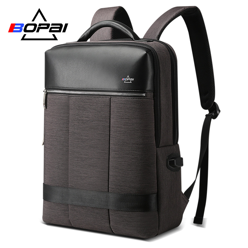 6232a3348d BOPAI Vertical Stripe Men Business Backpack Grey Professional Male Laptop  Backpack 15.6Inch High School Students mochila escolar-in Backpacks from  Luggage ...