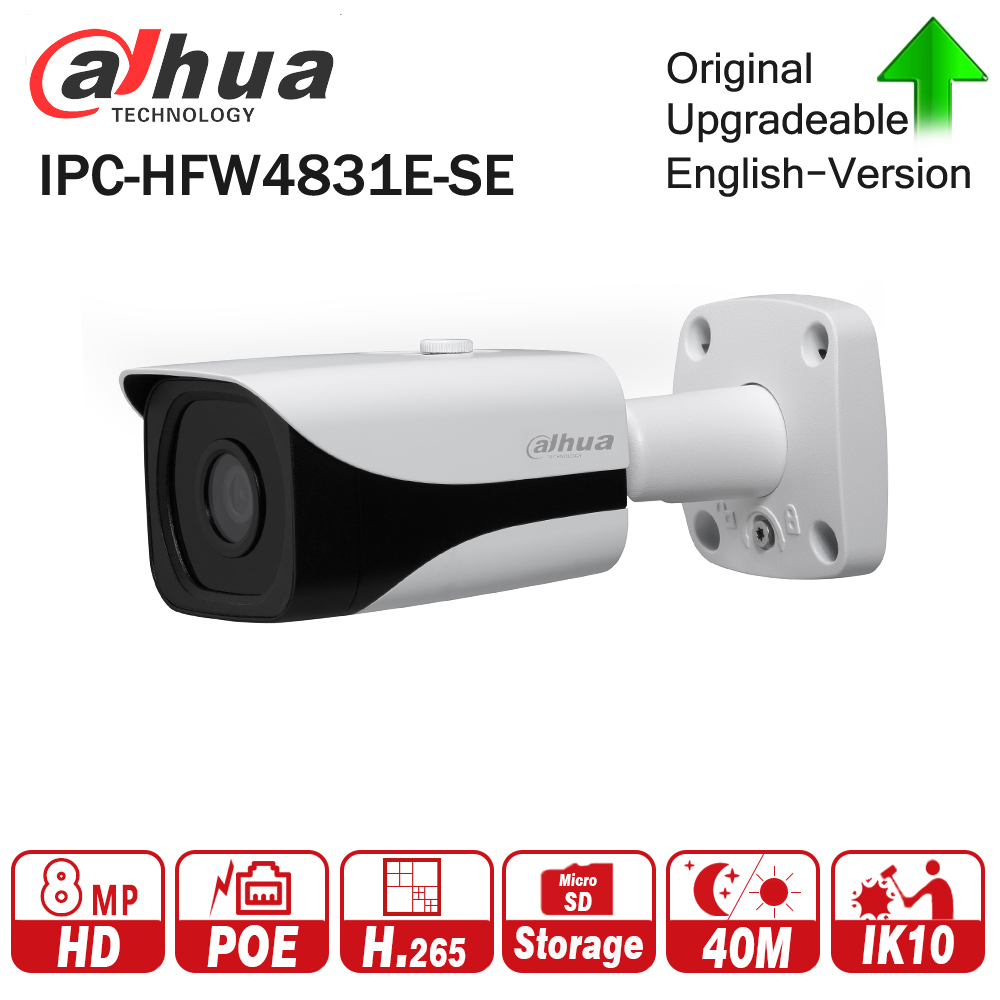 Dahua IPC-HFW4831E-SE 8MP WDR IR Mini Bullet Network IP Camera 4K Smart Detect 40m IR Support Micro SD Card H.265 WDR IP67 PoE free shipping dahua security outdoor camera 2mp wdr ir mini bullet network camera ip67 with poe without logo ipc hfw4231e se