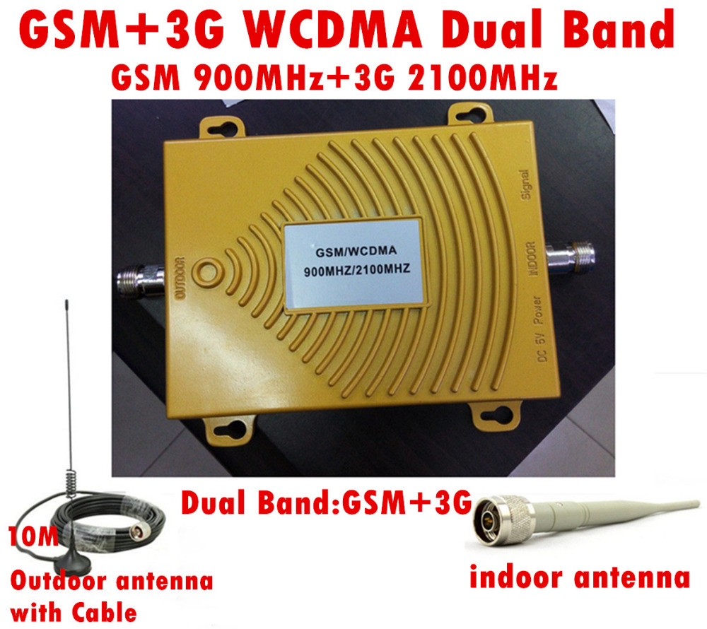 GSM 900Mhz + 3G W-CDMA 2100MHz Dual Band Mini Signal Booster , 2G 3G GSM Mobile Phone Signal Repeater With AntennaGSM 900Mhz + 3G W-CDMA 2100MHz Dual Band Mini Signal Booster , 2G 3G GSM Mobile Phone Signal Repeater With Antenna