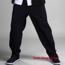 Хлопковые брюки Tai Chi Wu брюки «Shu» боевое искусство, брюки кунг-фу черного цвета, M-XXXXL