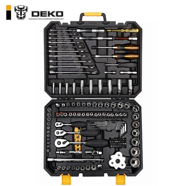 DEKO 140 Pcs מקצועי רכב תיקון כלי סט אוטומטי מחגר ברגים מברג שקע מכניקה כלים ערכת W/מכה- תיבת דפוס