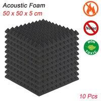 10pcs Acoustic Foam Panel Wedge Studio Soundproofing Panels,Echoes Absorption Sound Treatment Fire Resistant 50cm X 50cm X 5cm
