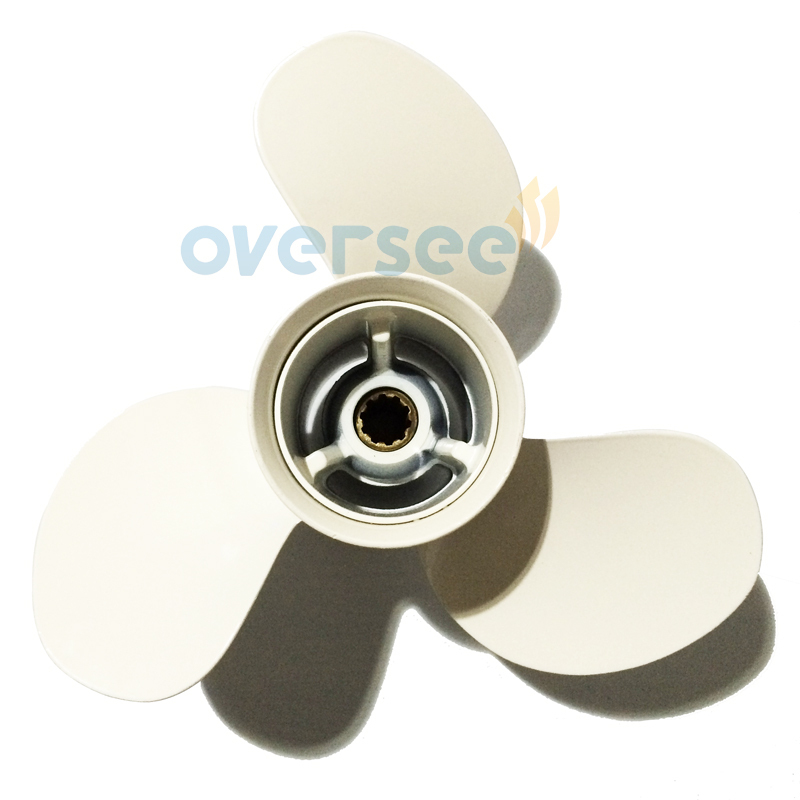 OVERSEE Aluminum Propeller 664-45949-02-EL size 9 7/8x13-F for Yamaha 25HP 30HP Outboard Engine69P 61N 9-7/8x13-F fit yamaha outboard 61n 45510 00 00 drive shaft assy 61n 45510