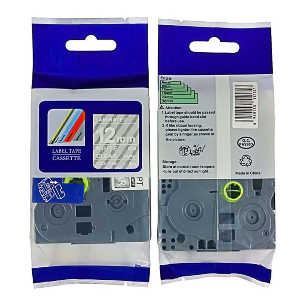 3PCS White on Clear Label Tape Compatible for Brother TZ TZe 135 Tze135 P-Touch