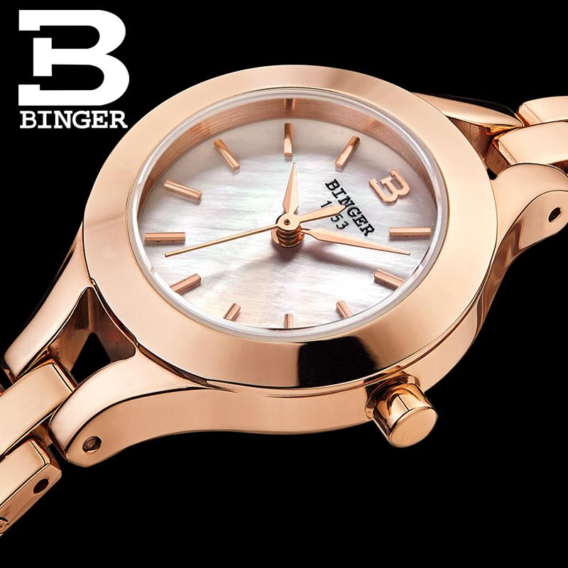Switzerland Binger Watches Women Fashion Luxury 18K Gold Color Watch Quartz Sapphire Full Stainless Steel Wristwatches
