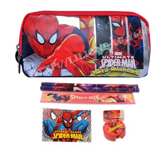 1set Spiderman pencil case for boys girls cartoon children school supplies stationery set kids pencil bag