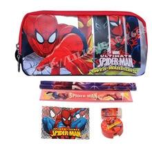1set Spiderman pencil case for boys girls cartoon children school supplies stationery set kids pencil bag high quality