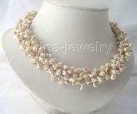 P5464 18 5row champagne Reborn Keshi freshwater pearl necklace GP magnet