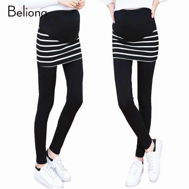 2017 New Belly Care Maternity Leggings False Two Pieces Stretch Pregnancy Pants Trousers for Women Maternity Spring Clothes