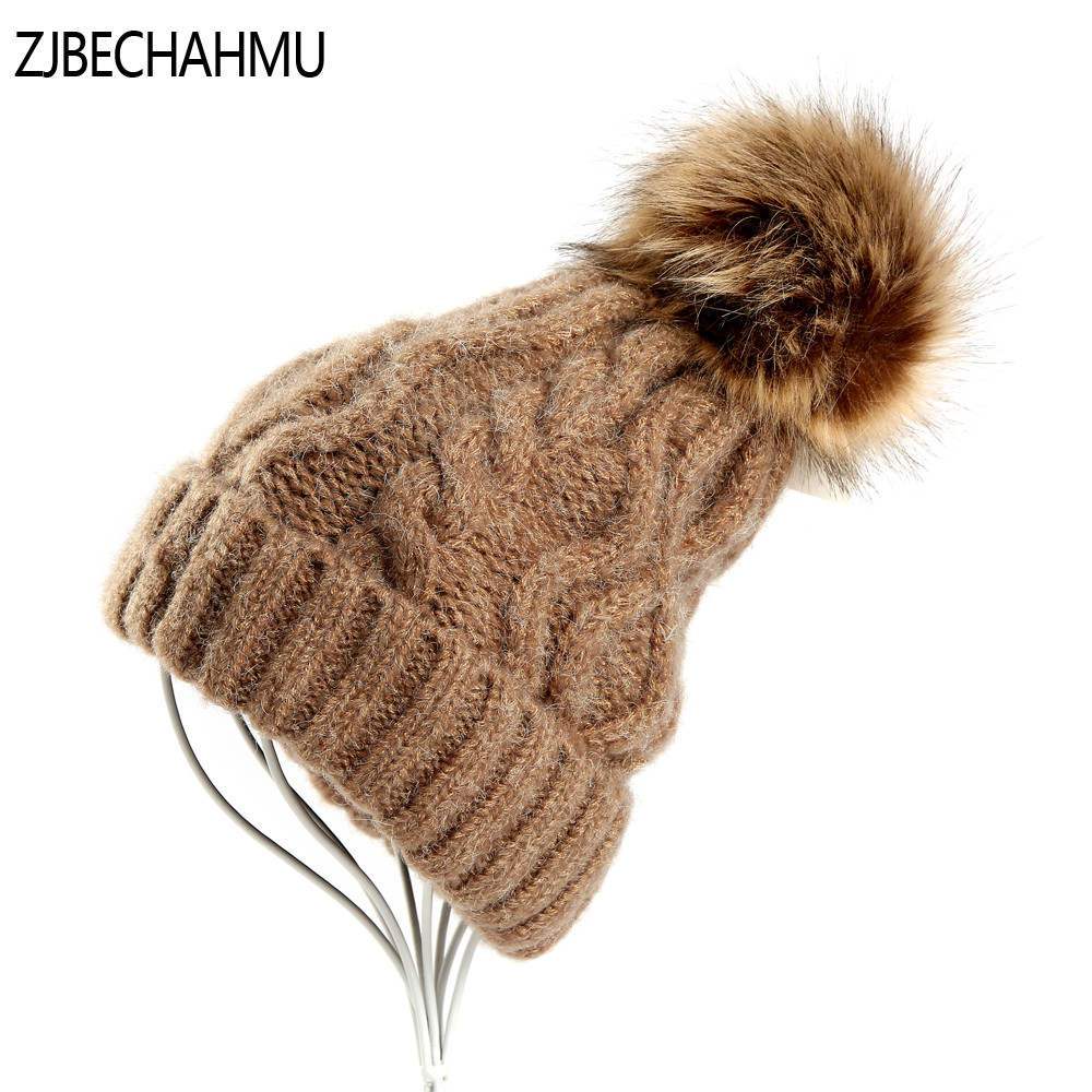 Fashion Girl 'S Skullies Beanies Winter Hats For Women Knitting Cap Hats Pompoms Ball Warm Brand Casual Gorros Thick Female Cap skullies