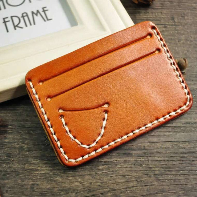 Fashion Brand High Quality Leather Credit Card Holder Ultra Slim Wallet Vintage Handmade Design Coin Pocket Pouch For Mans