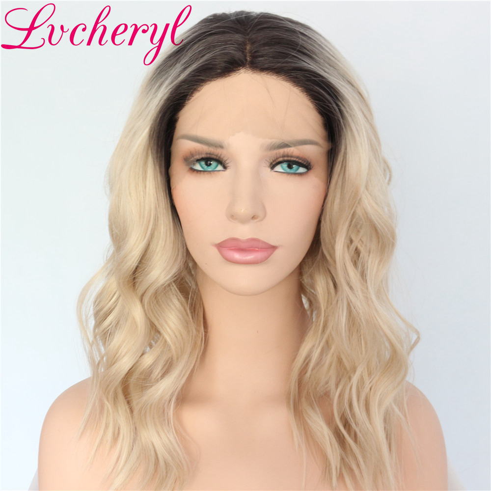 Dark Roots Ombre Wigs for Women Blonde Wig Synthetic Lace Front Wig Short Bob Wavy Hair