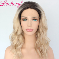 Dark Roots Ombre Wigs for Women Blonde Wig Synthetic Lace Front Wig Short Bob Wavy Hair 150% Density Heat Resistant Fiber
