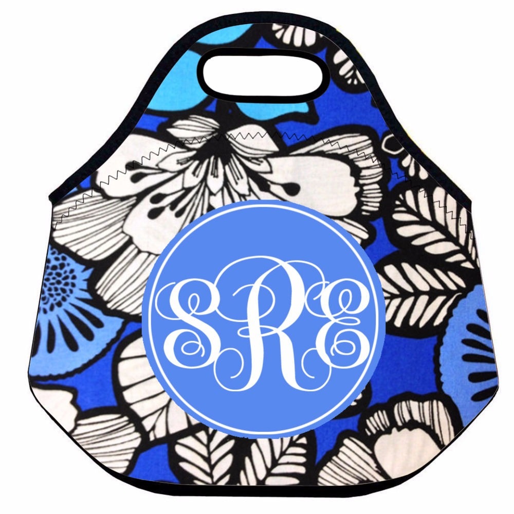 Initials Custom Neoprene Lunch Bag for Women ,Blue Flower Thermal Lunch Bag,Cute Insulated Lunch Box Bag,Picnic Box Bag for Kids
