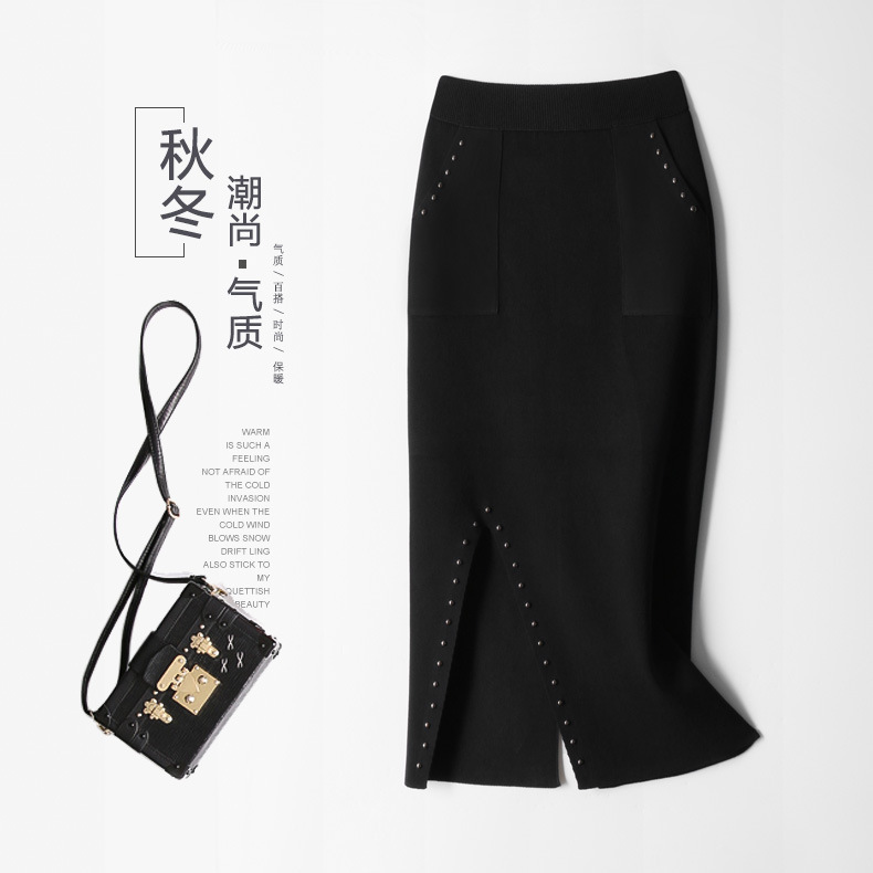 New women s knitted skirt of excellent quality Euro American Autumn winter fashionable elegant skirt of
